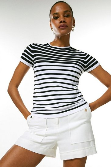 White Stripe Knitted Tee