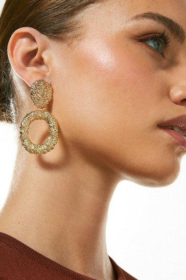 Gold Plated Molten Textured Drop Hoop