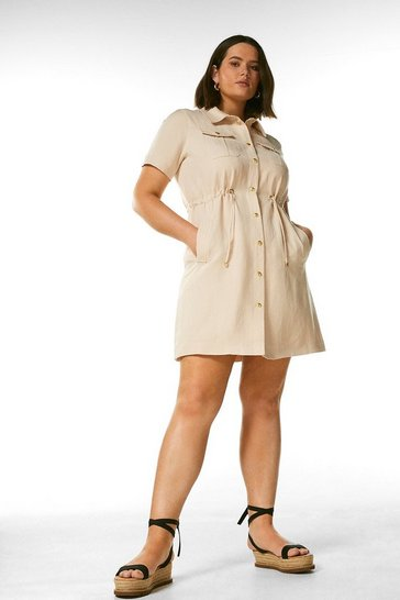 Stone Curve Linen Blend Draw String Waist Dress