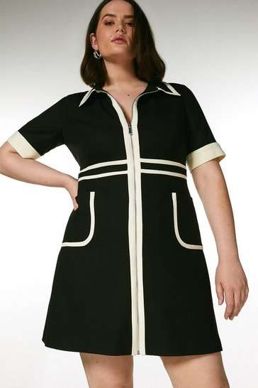 Blackwhite Curve Contrast Panel Zip Front Dress