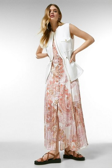 Ivory Linen Blend Multi Stitch Sleeveless Jacket
