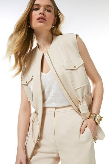 Stone Linen Blend Multi Stitch Sleeveless Jacket