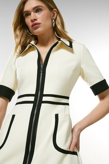 Ivory Contrast Panel Zip Front Dress