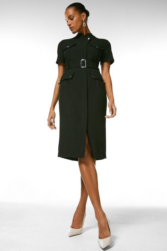 Black Compact Stretch Pocket Pencil Dress