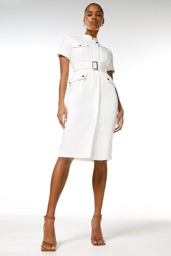 Ivory Compact Stretch Pocket Pencil Dress