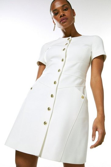 Ivory Compact Stretch Military Button A Line Dress
