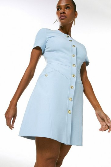 Pale blue Compact Stretch Military Button A Line Dress