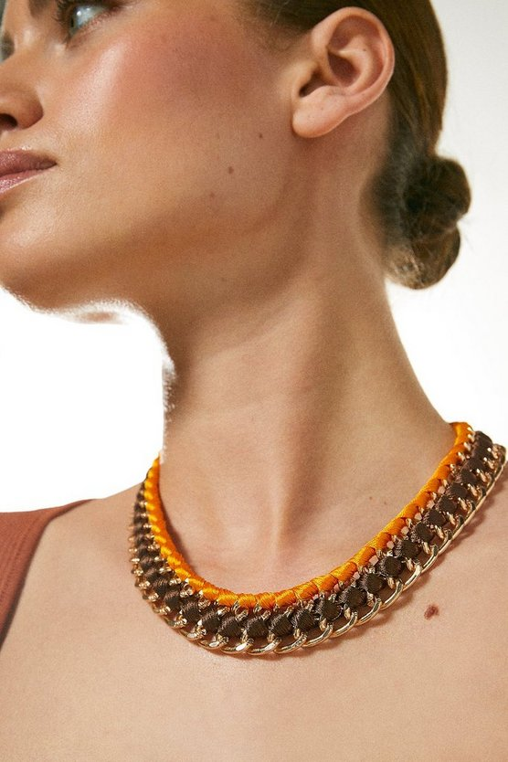 Orange Gold Plated Statement Coloured Necklace