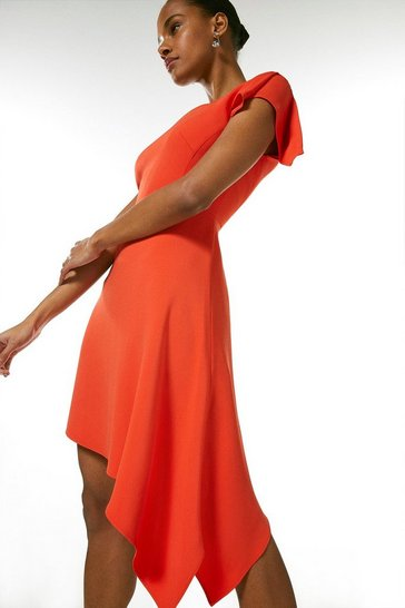 Orange Compact Stretch Viscose Asymmetric Hem Dress