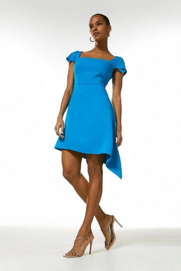 Turquoise Compact Stretch Viscose Asymmetric Hem Dress