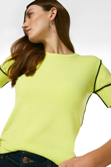 Lime Contrast Knitted T-Shirt