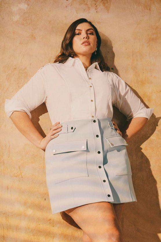 Pale blue Curve Compact Stretch Popper A Line Skirt