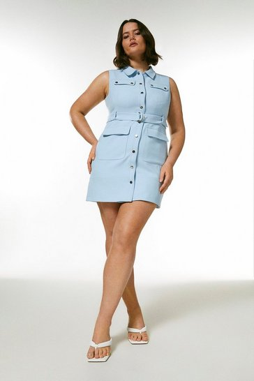 Pale blue Curve Compact Stretch Popper Detail Dress