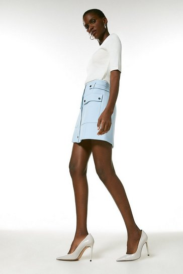 Pale blue Compact Stretch Popper Detail A Line Skirt