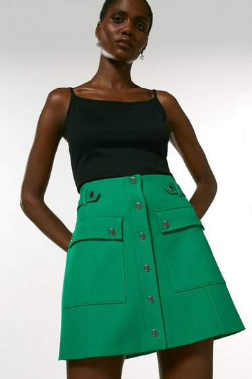 Green Popper Detail A Line Skirt