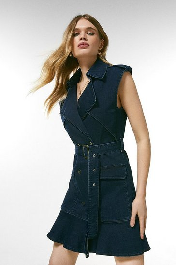 Indigo Denim Ruffle Hem Double Breasted Dress