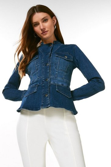 Mid wash Denim Jacket With Peplum Hem
