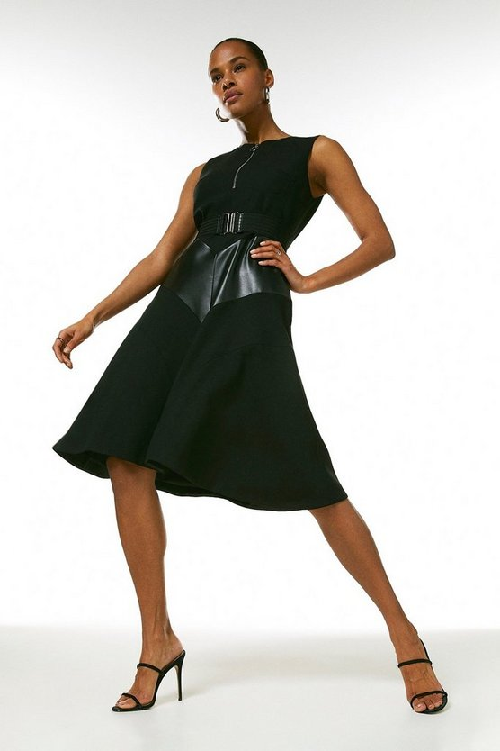 Black Compact Stretch & Faux Leather Mix Midi Dress