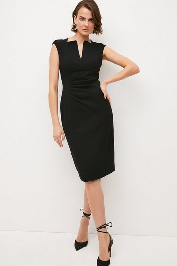 Black Structured Crepe Envelope Neck Pencil Dress