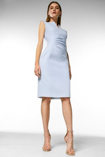 Bluebell Structured Crepe Envelope Neck Pencil Dress