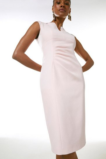 Blush Structured Crepe Envelope Neck Pencil Dress