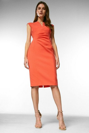 Coral Structured Crepe Envelope Neck Pencil Dress