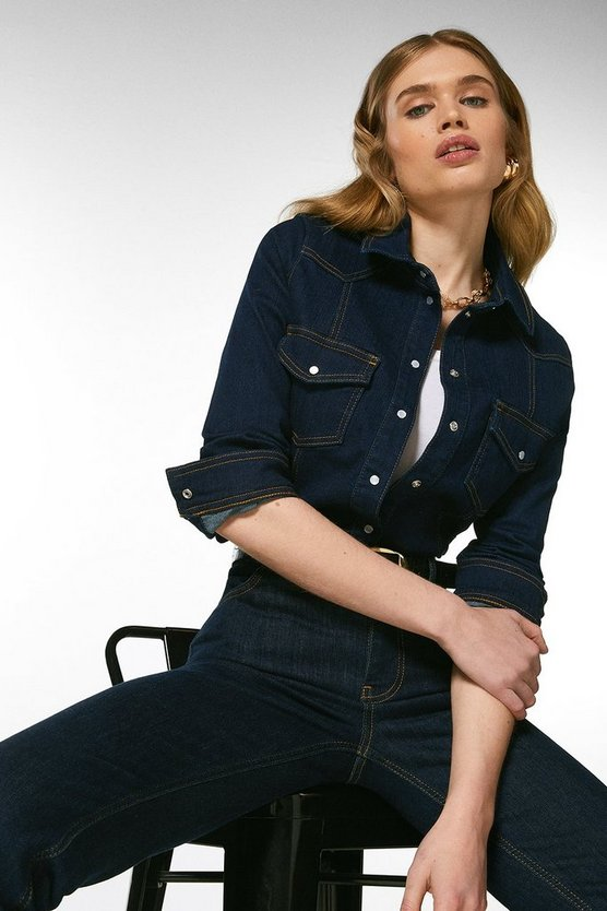 Indigo Popper Front Denim Shirt