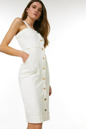 Cream Denim Button Front Pinny Dress