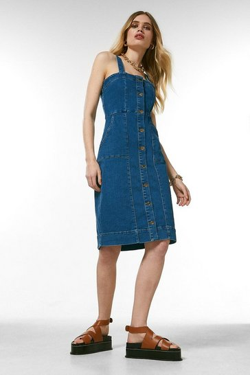 Mid wash Denim Button Front Pinny Dress