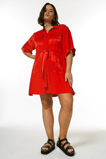 Red Curve Multistitch Utility Dress