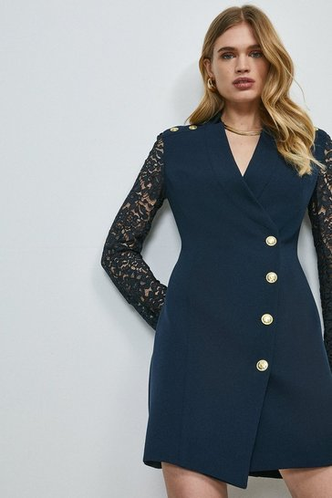 Navy Structured Crepe Lace Sleeve Wrap Dress