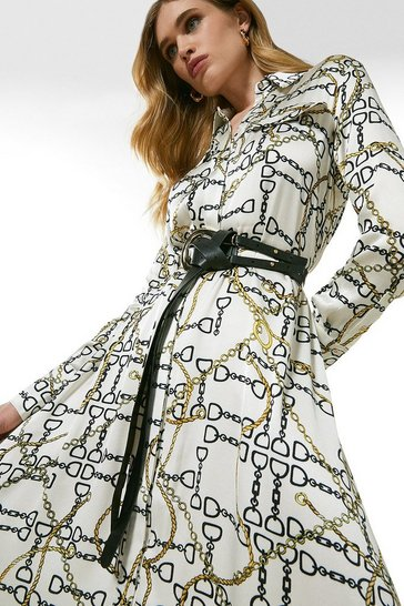Ivory Chain Print Belted Shirt Dress