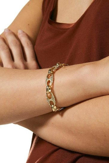 Gold Plated Diamante  Link Bracelet