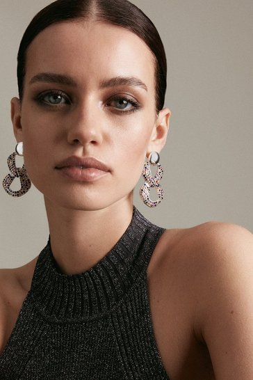 Multi Diamante Statement Drop Earrings