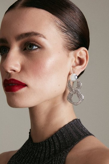 Silver Diamante Statement Drop Earrings