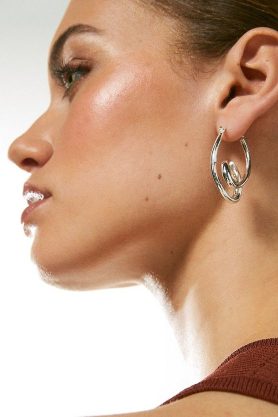Silver Plated Double Hoop Earring