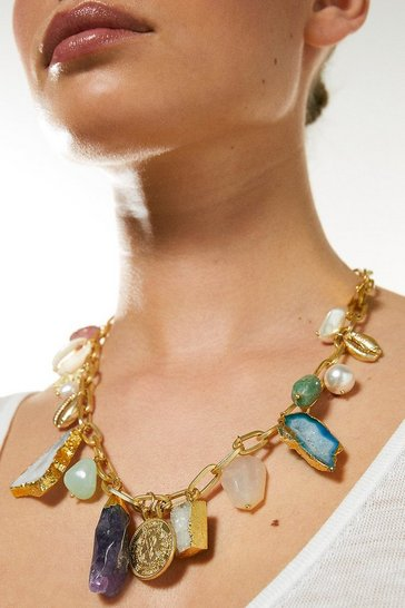 Gold Plated Natural Stone Charm Necklace