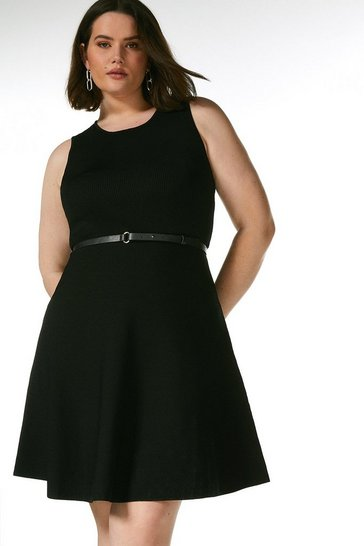 Black Curve Sleeveless Belted Knit Skater Dress