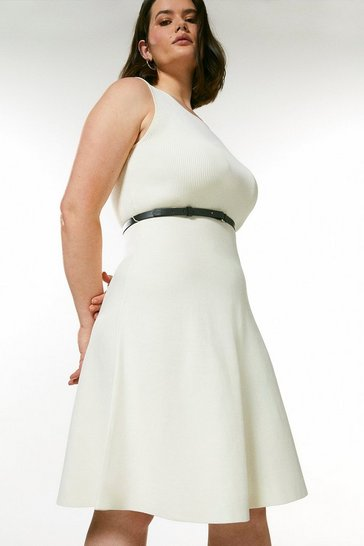 Cream Curve Sleeveless Belted Knit Skater Dress