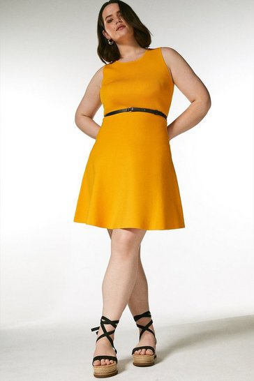Marigold Curve Sleeveless Belted Knit Skater Dress