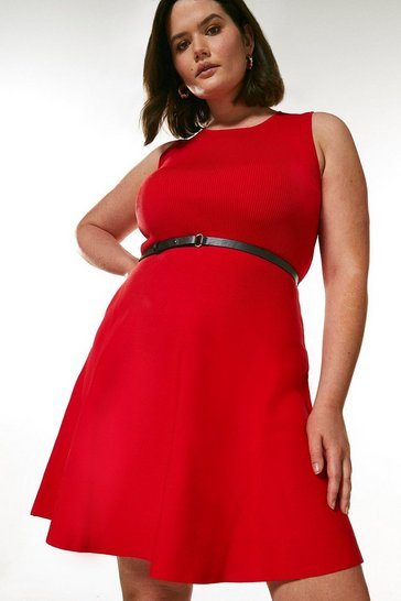Red Curve Sleeveless Belted Knit Skater Dress