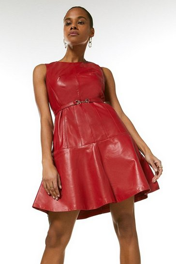 Red Leather Belted Fit And Flare Dress