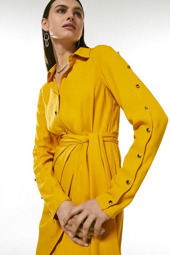 Mustard Drape Detail Shirt Dress