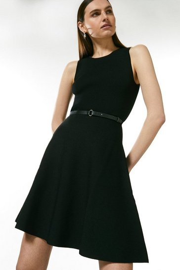 Black Sleeveless Belted Knit Skater Dress