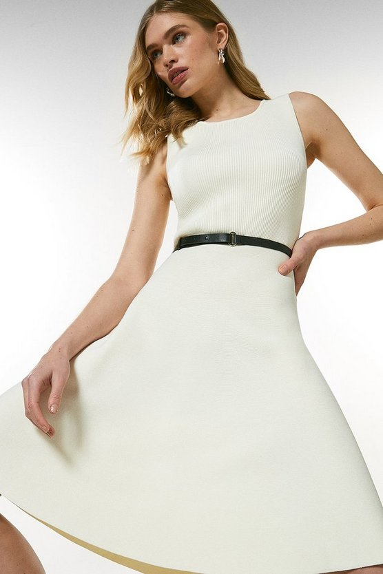 Cream Sleeveless Belted Knit Skater Dress
