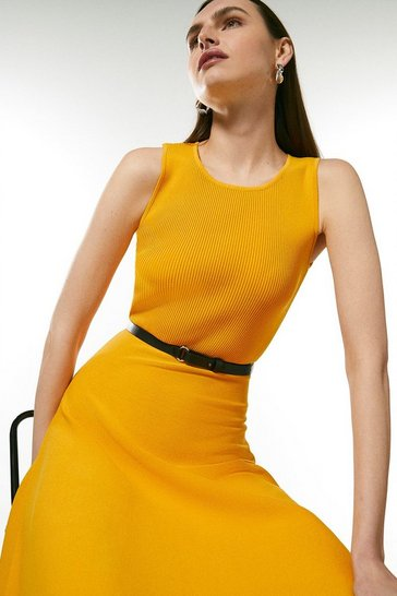 Marigold Sleeveless Belted Knit Skater Dress