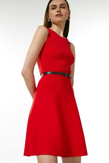 Red Sleeveless Belted Knit Skater Dress