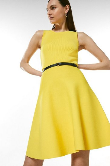 Yellow Sleeveless Belted Knit Skater Dress
