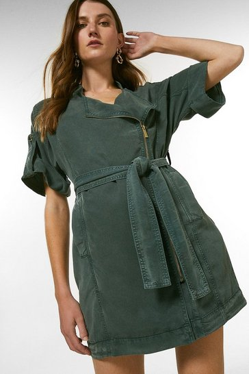 Khaki Tencel Zip Through Dress