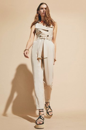 Stone  Polished Stretch Wool Blend Db Jumpsuit